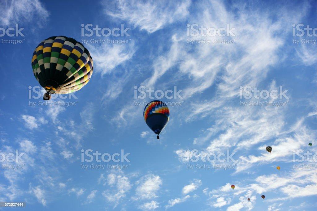 Hot Air Balloons Blue Sky Sunrise Flight stock photo