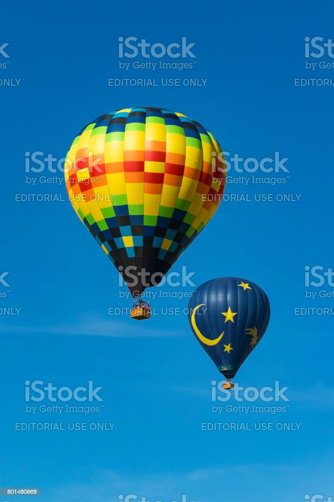Hot air balloons floating at festival stock photo