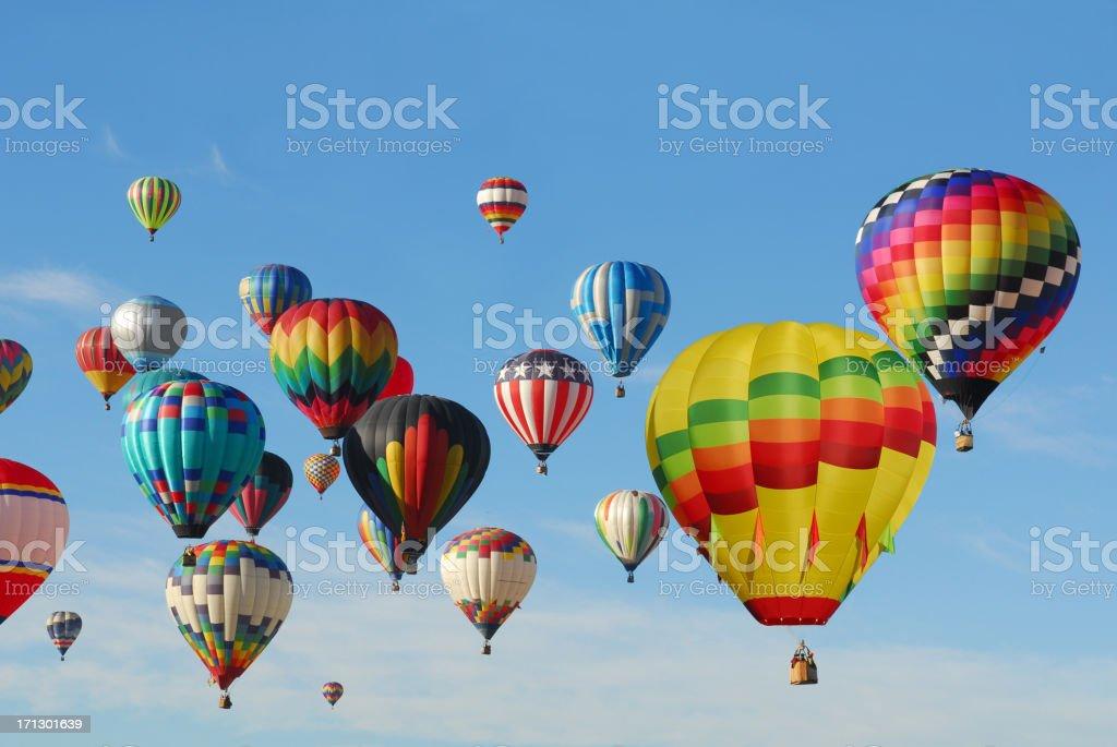 Hot Air Balloons flying high stock photo