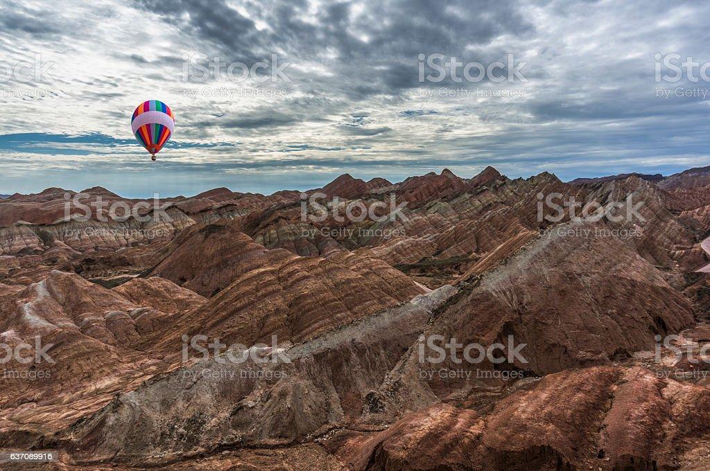 Hot air balloons flying over danxia landform,Gansu of China stock photo