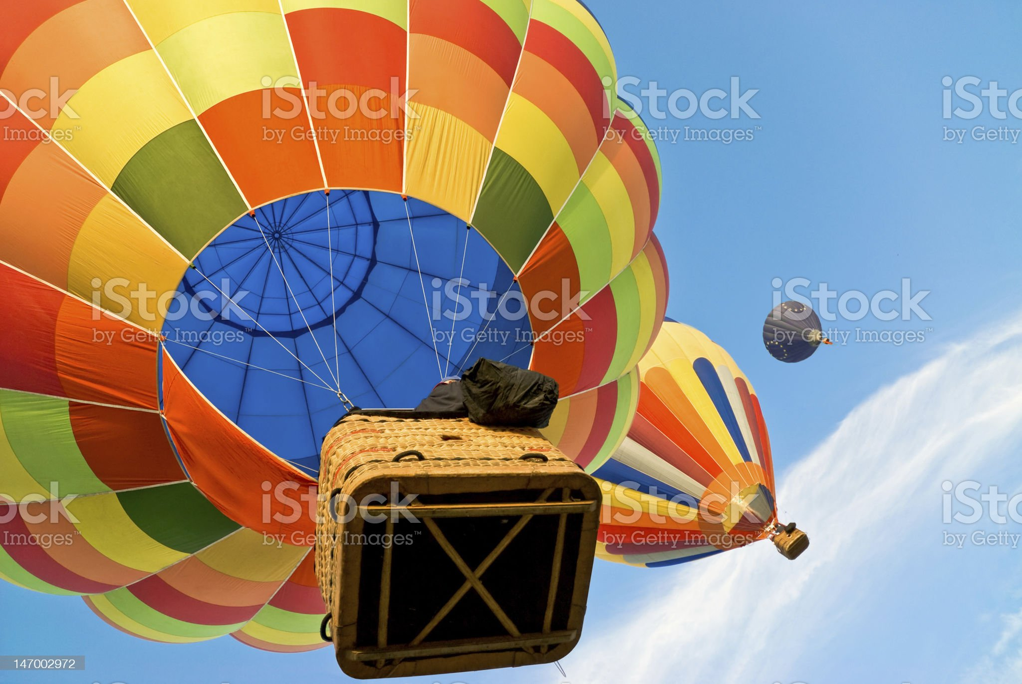 hot air balloons high in the sky royalty-free stock photo