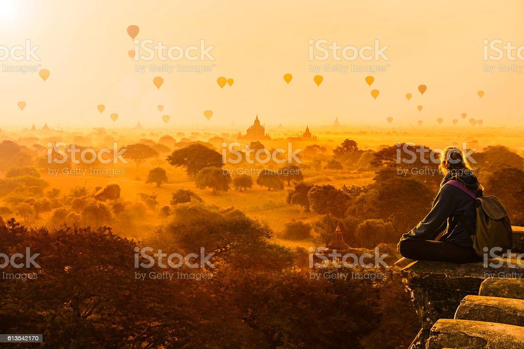 Hot air balloons in Bagan, Myanmar stock photo