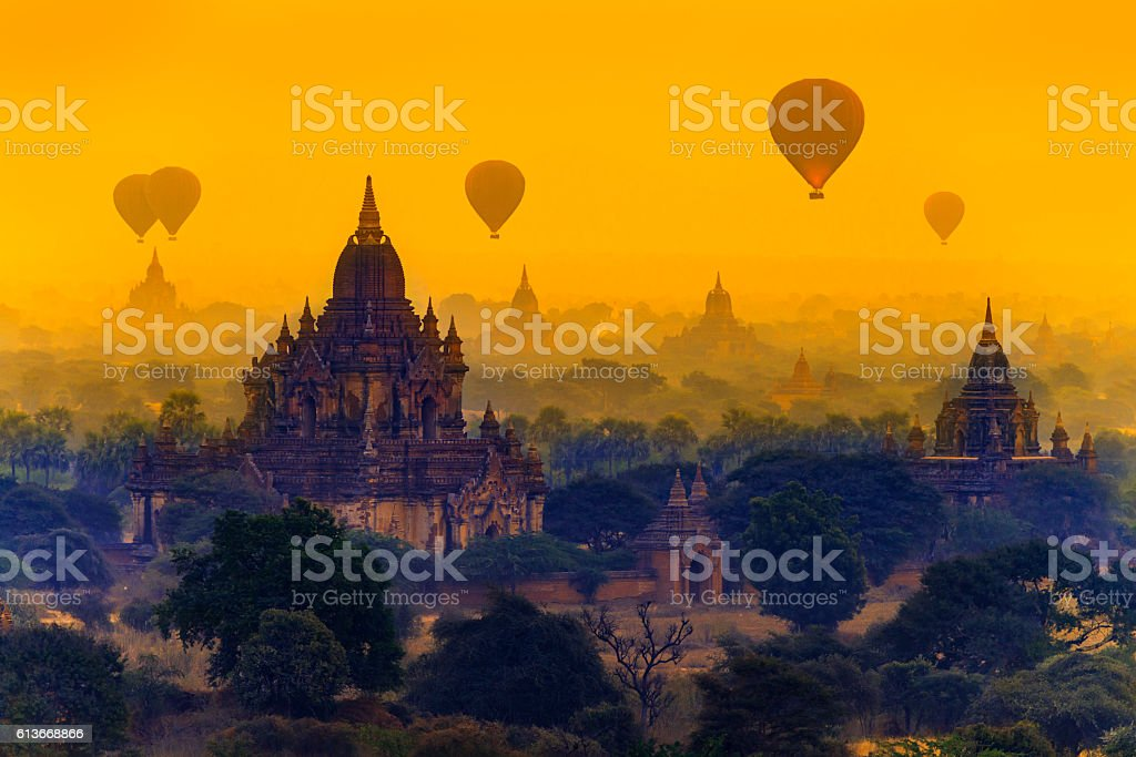 Hot air balloons in Bagan, Myanmar stock photo