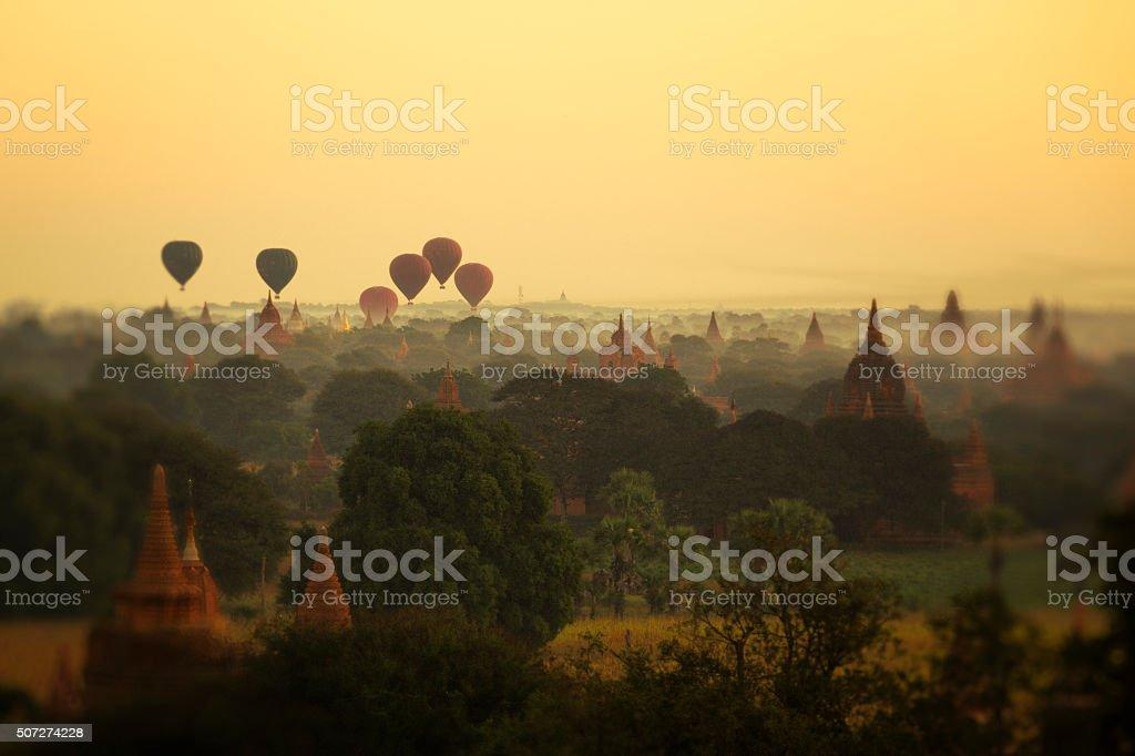 Hot Air Balloons in Bagan stock photo