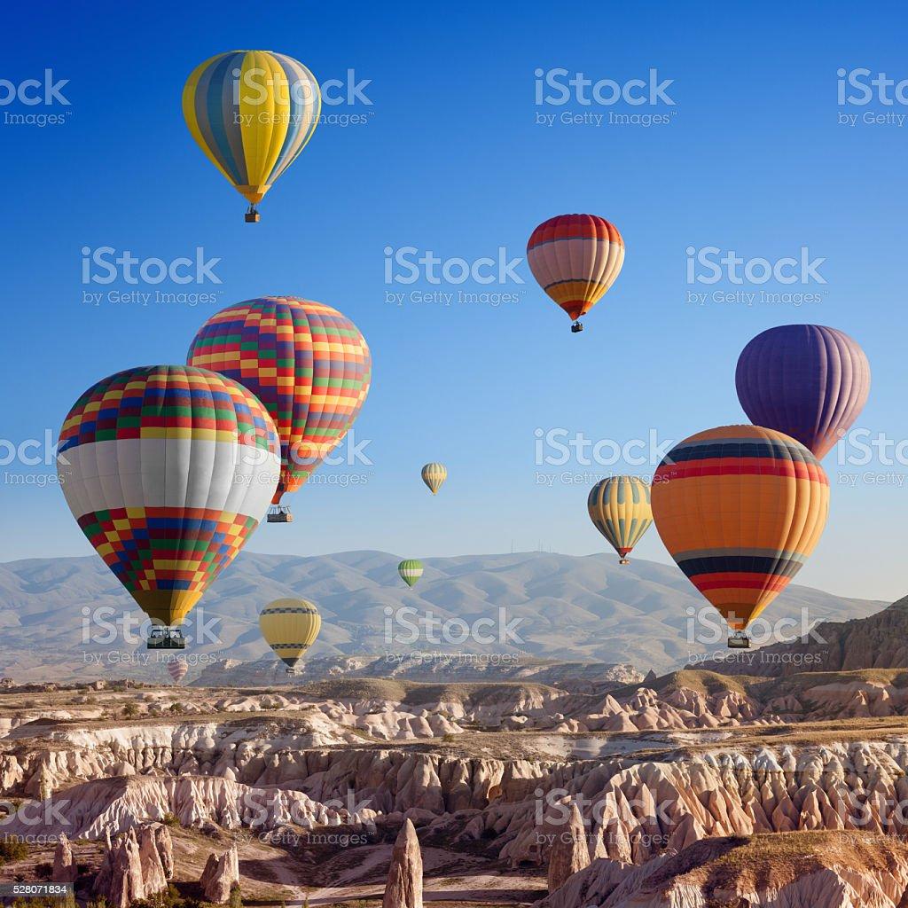 Hot air balloons in Cappadocia stock photo