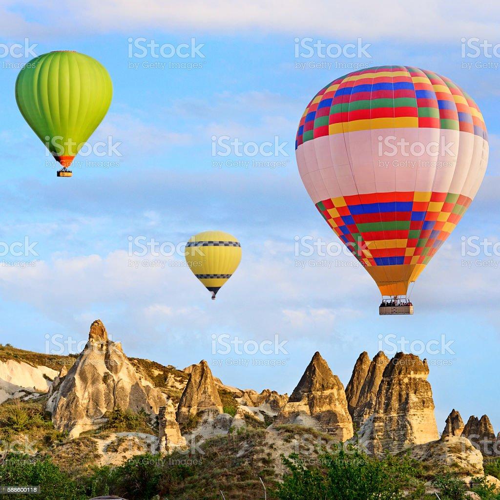 Hot air balloons in Cappadocia, Turkey stock photo