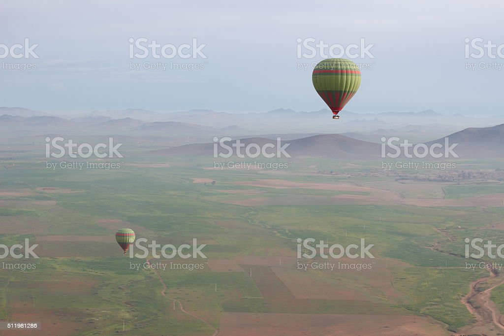 Hot air balloons in the distance stock photo