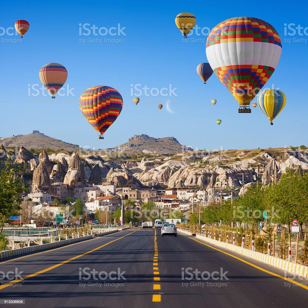 Hot air balloons near Goreme, Cappadocia, Turkey stock photo