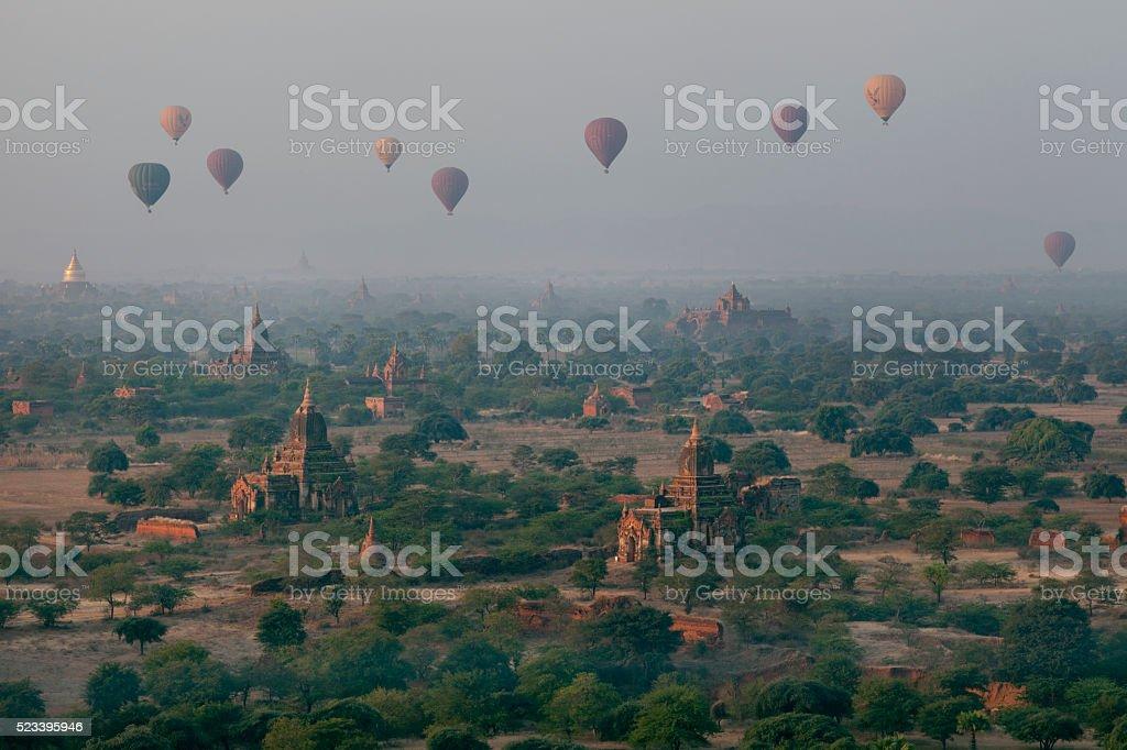 Hot Air Balloons Over Bagan Myanmar stock photo