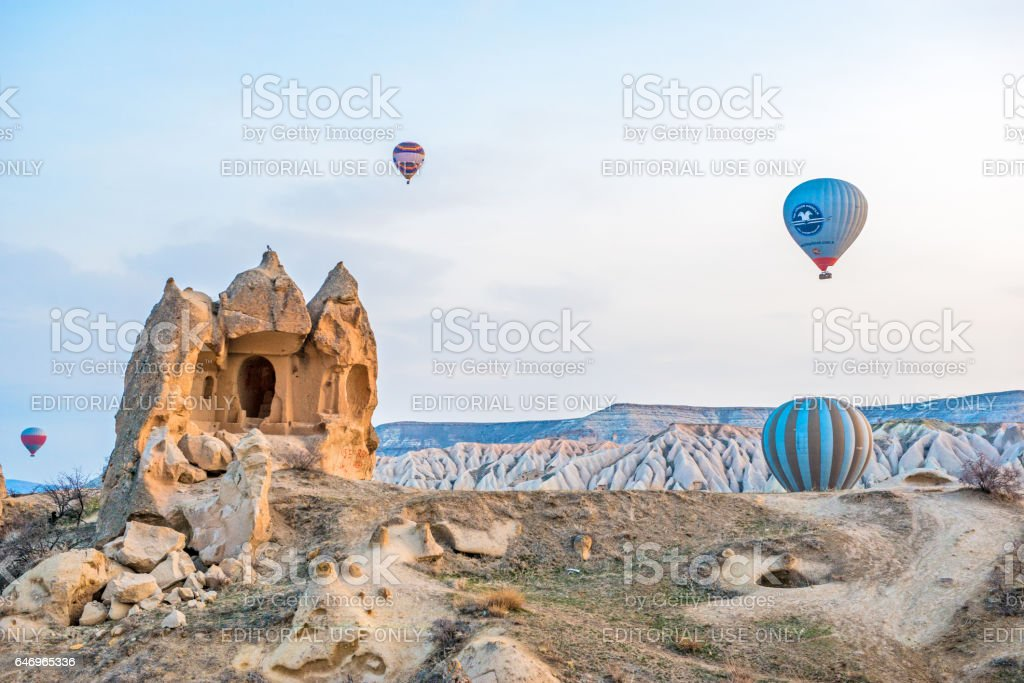 Hot air balloons over Cappadocia. stock photo