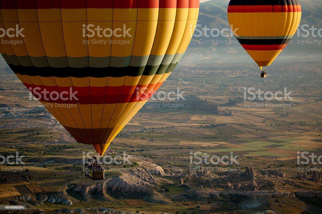 Hot Air Balloons Over Cappadocia, Turkey stock photo