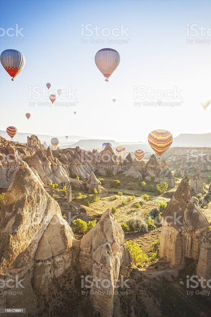 Hot air balloons over Love Valley, Cappadocia, Turkeys stock photo