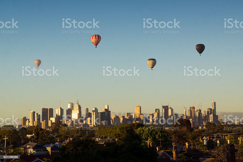 Hot air balloons over Melbourne stock photo