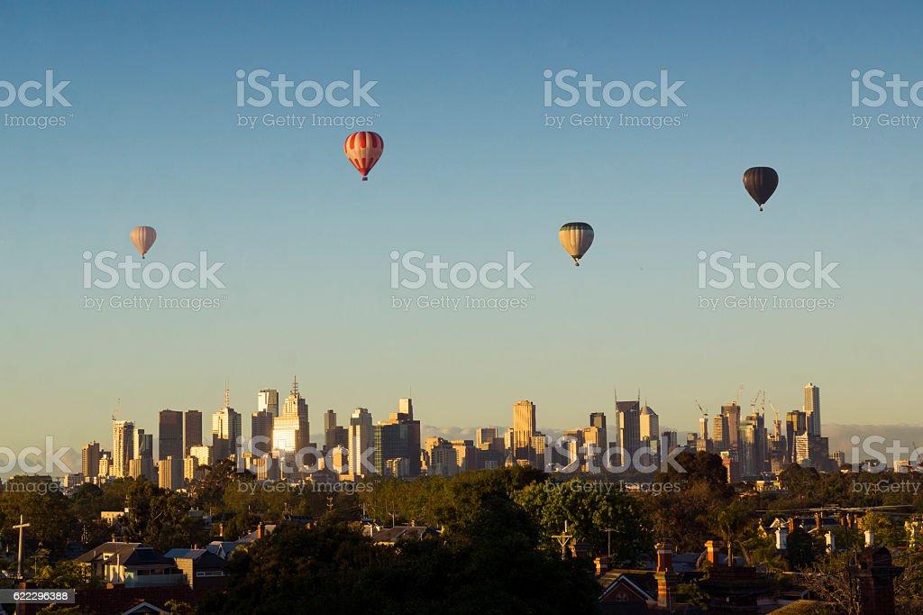 Hot air balloons over Melbourne stock photo