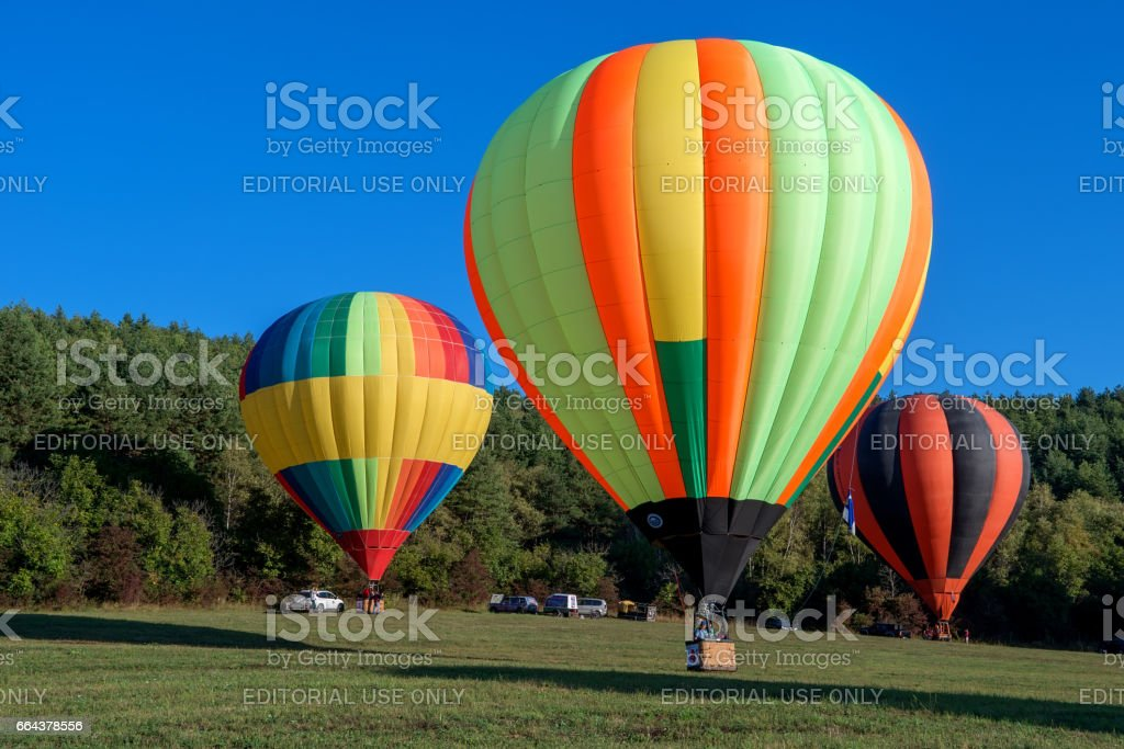 KISLOVODSK, RUSSIA - SEPTEMBER 08, 2016: Hot air balloons ready to take off on the Balloon festival. stock photo