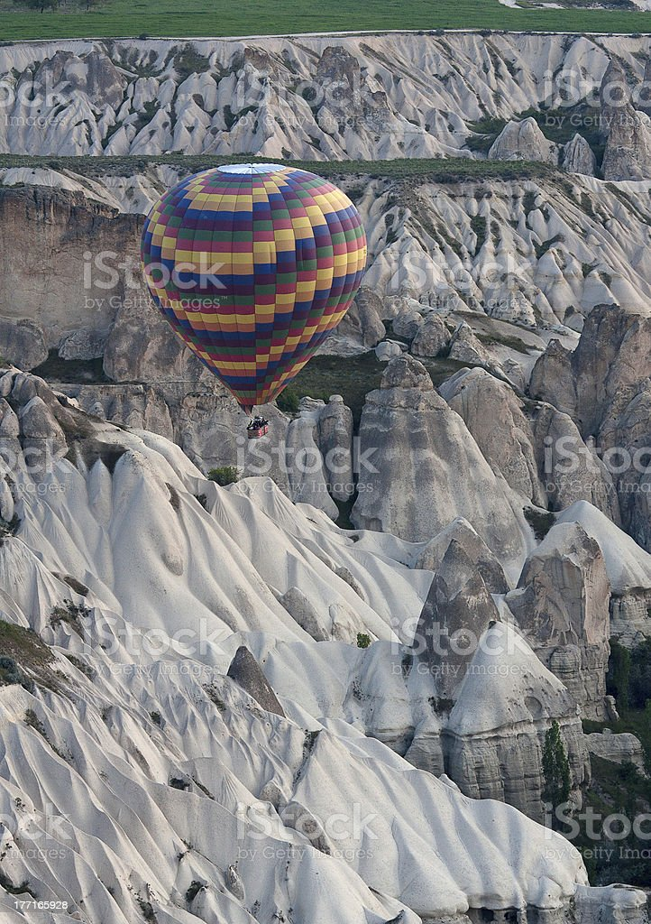 Hot air balloons rise over valley, Turkey royalty-free stock photo
