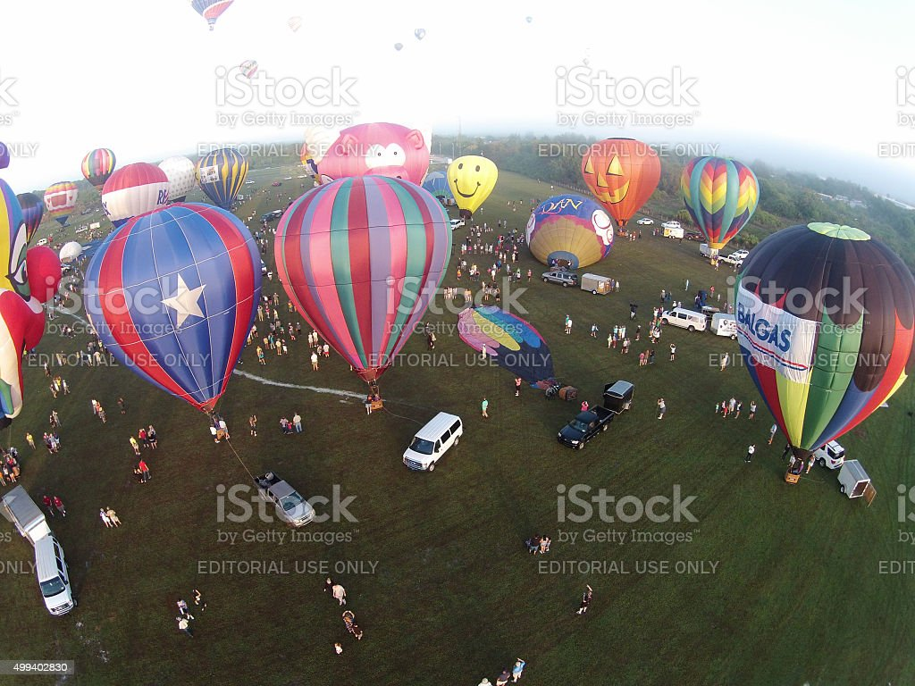 Hot air Balloons seen from above in early morning stock photo