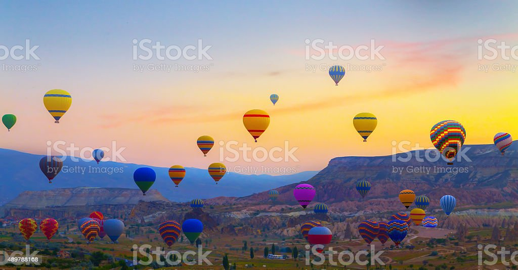 Hot air balloons sunset Cappadocia, Turkey stock photo