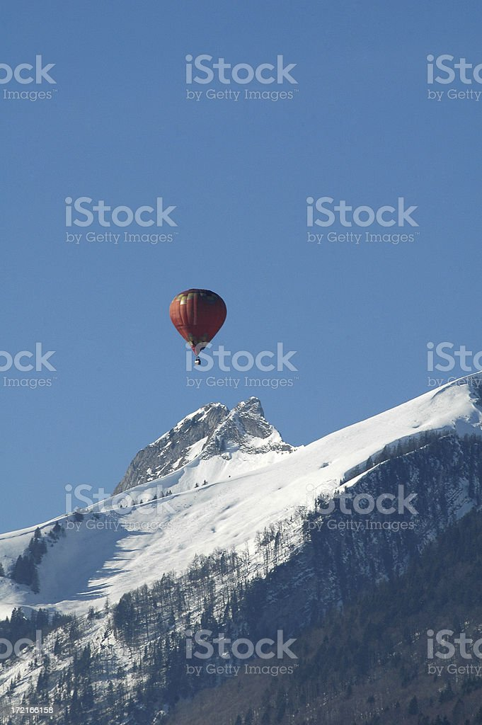 Hot air balloons Swiss alps royalty-free stock photo