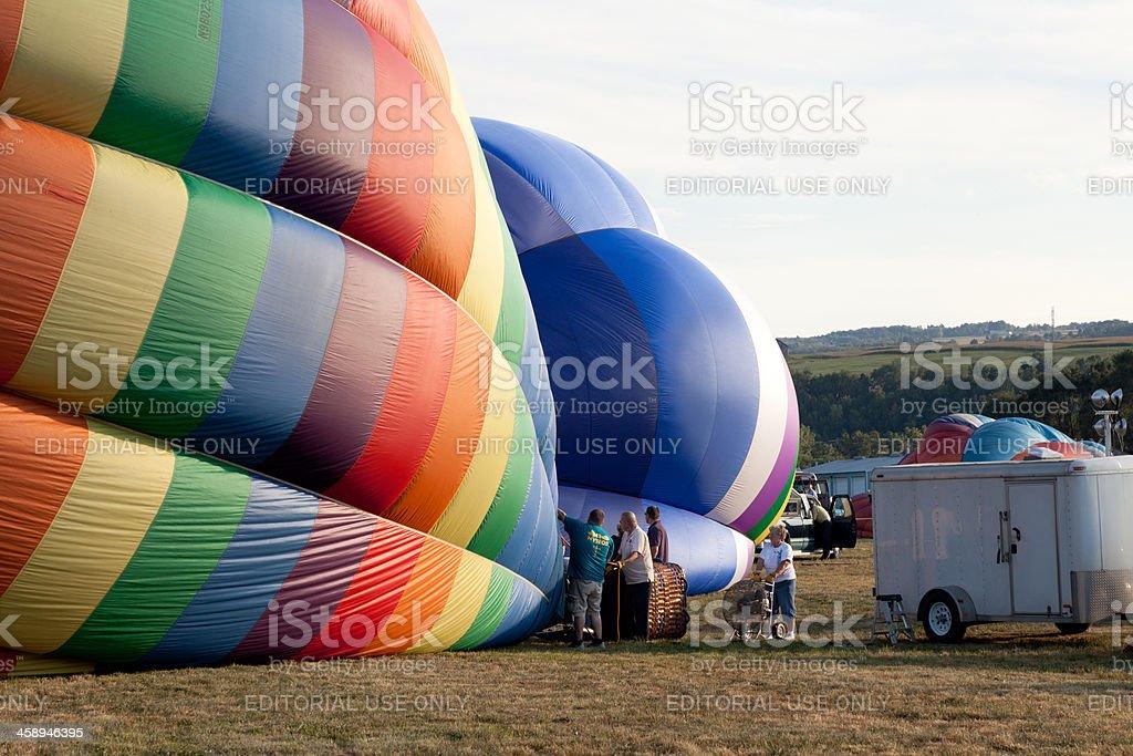Hot air baloon inflation stock photo