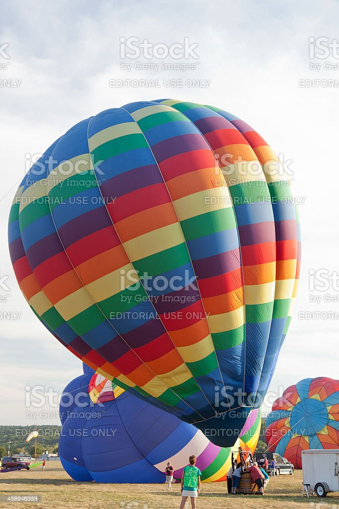 Hot air baloon ready for launch stock photo