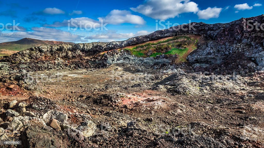 Hot and active area covered by lava in Iceland stock photo