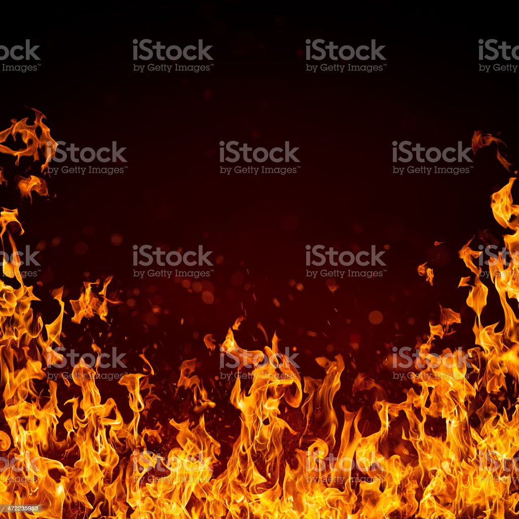 XXXL Hot and beautiful fire flame with bright sparks stock photo