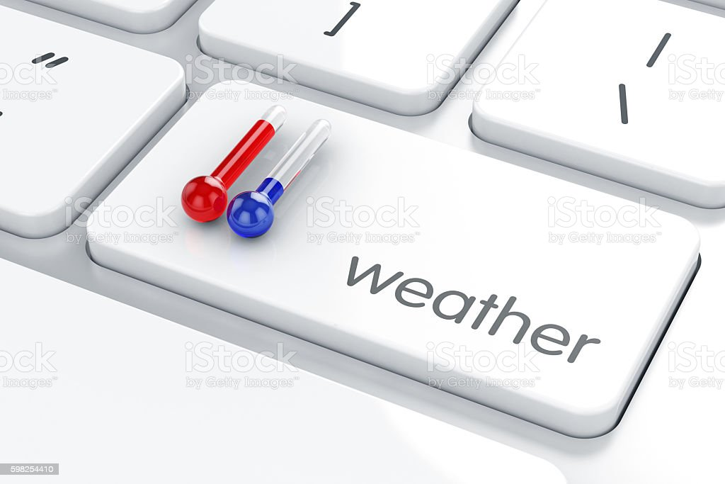 Hot and Cold thermometer temperature stock photo