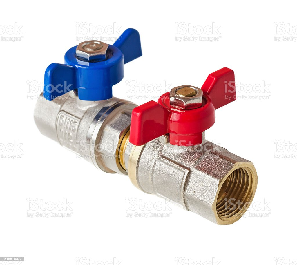 Hot and cold water valves stock photo