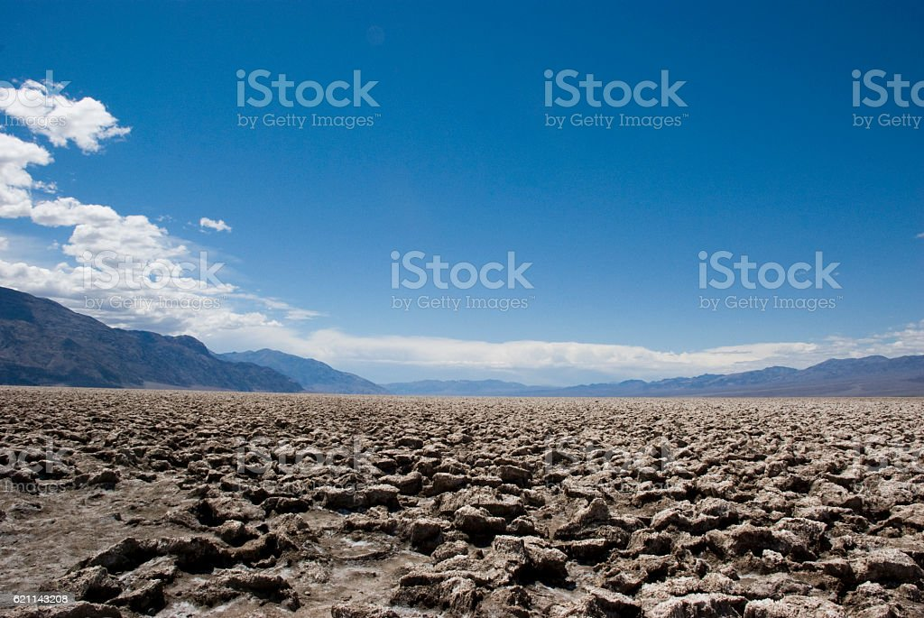 hot and dry landscape at Devils Golf Course, Death Valley stock photo