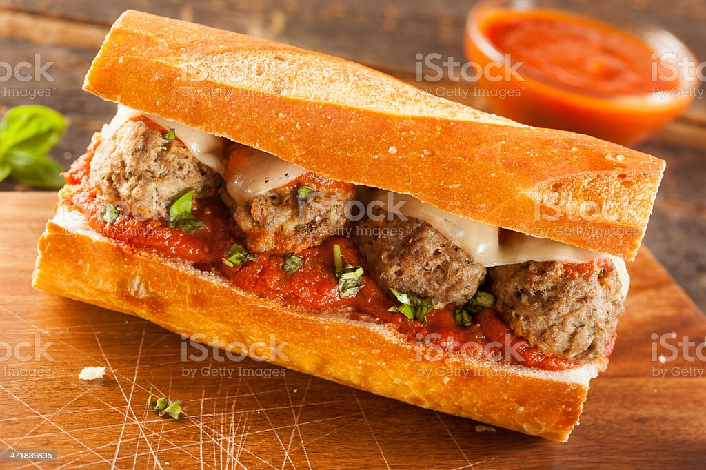 Hot and Homemade Spicy Meatball Sub Sandwich stock photo