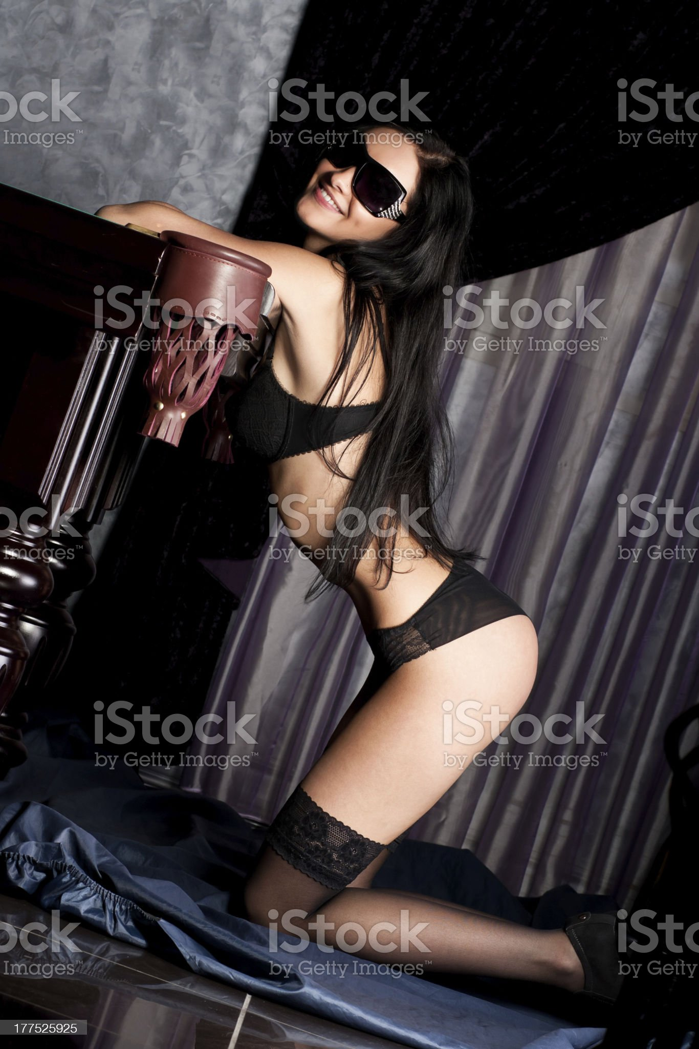 Hot and sexy brunette in sensual lingerie royalty-free stock photo