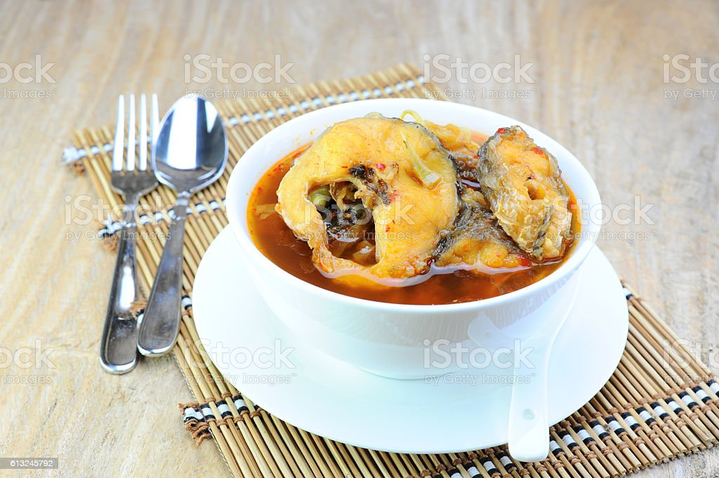Hot and Sour curry with fish or ('Gang Som') stock photo