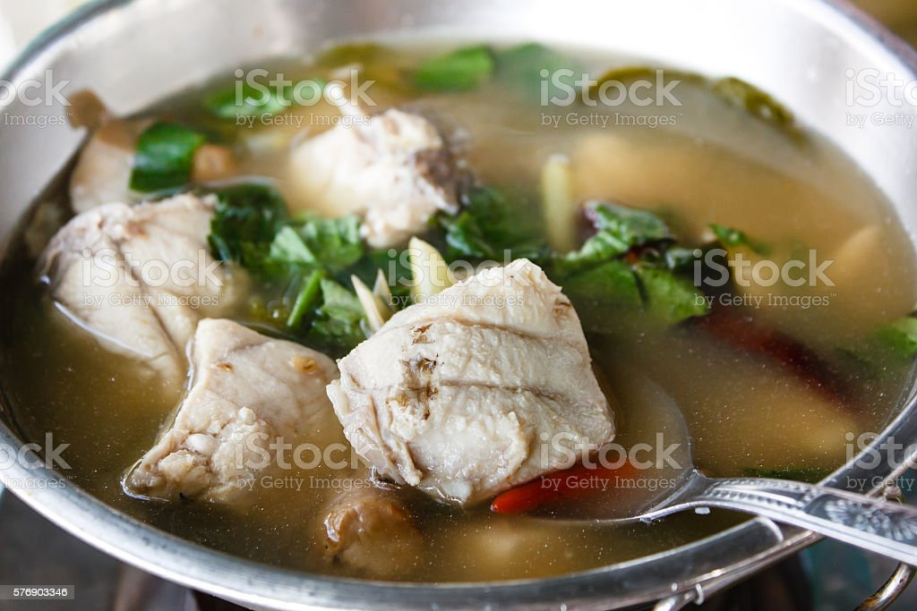 Hot and sour grouper soup. stock photo