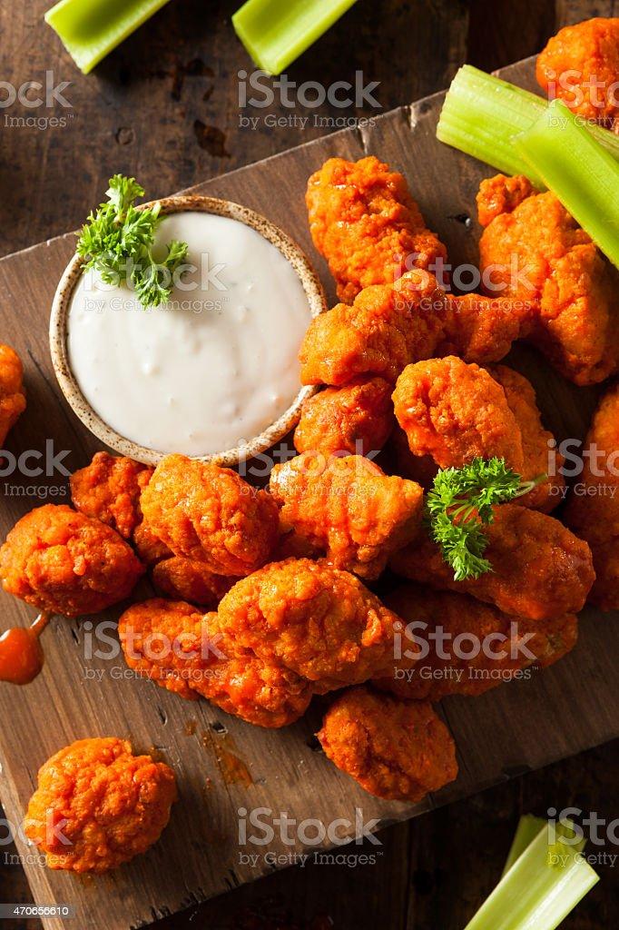 Hot and Spicy Boneless Buffalo Chicken Wings stock photo
