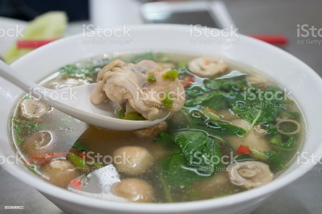 hot and spicy chicken wing soup stock photo