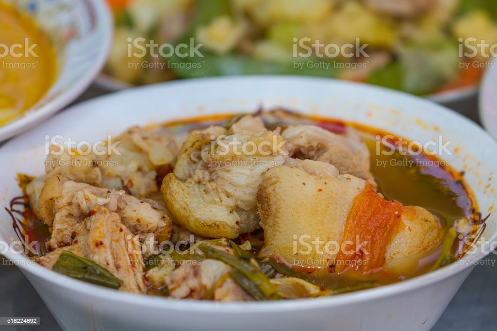 Hot and spicy soup pork cartilage stock photo