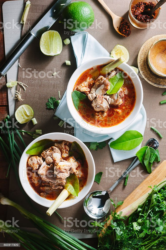 Hot and spicy soup with pork ribs. stock photo