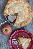 Hot Apple Pie and Coffee On Wood Background