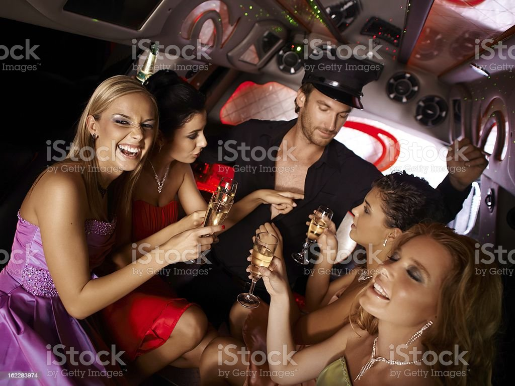 Hot bachelorette party in limo stock photo