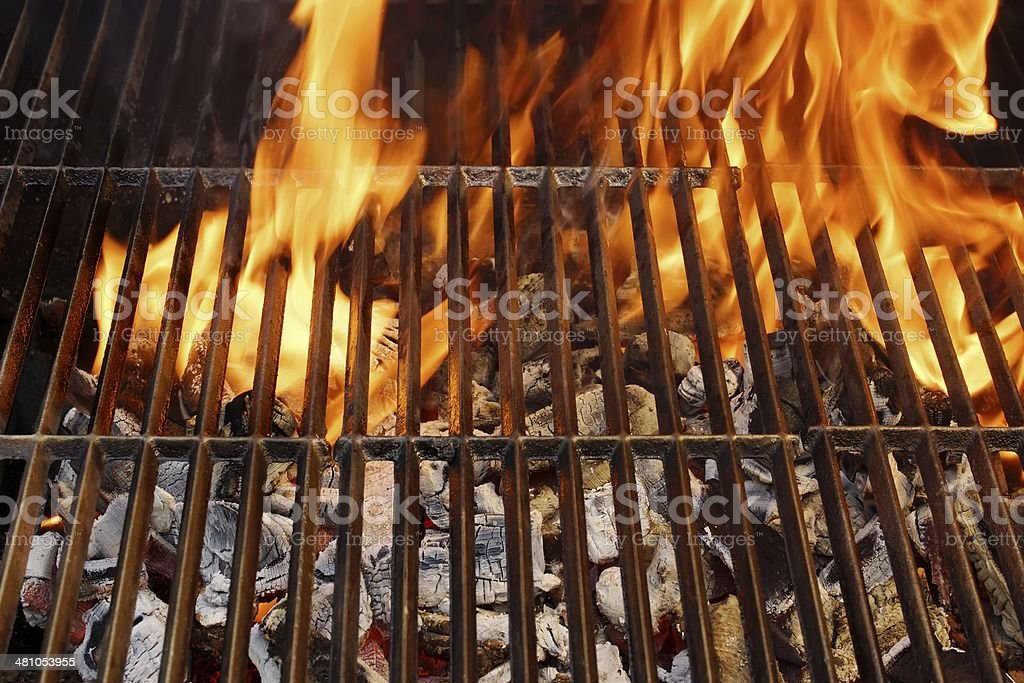 Hot Barbecue Grill and Burning Flames, XXXL stock photo