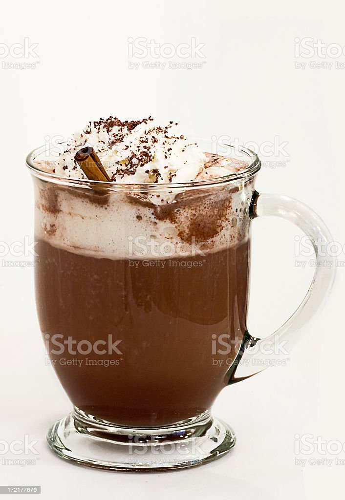 Hot beverage with whipped cream and sprinkled chocolate stock photo