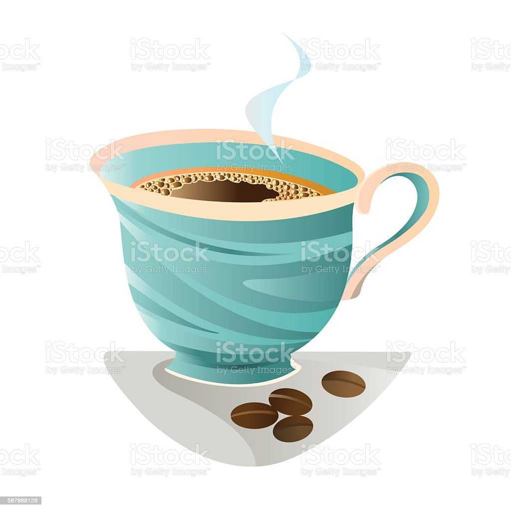 Hot black coffee in turquoise Cup. vector art illustration