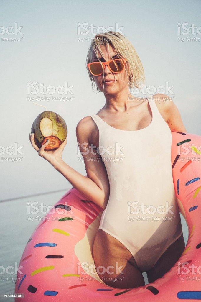 Hot blonde girl on vacation, Maldives stock photo