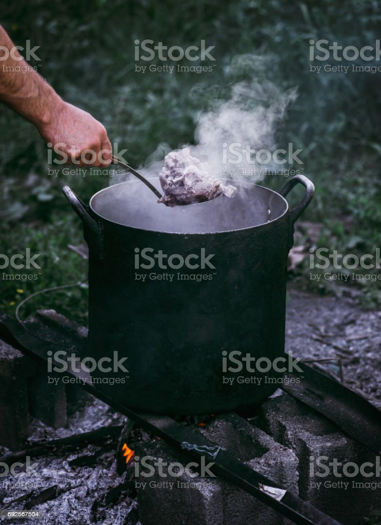 Hot boiled meat stock photo