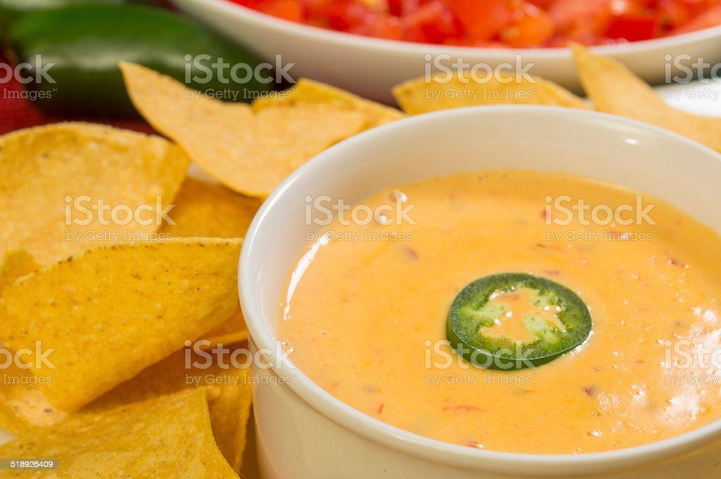 hot bowl of cheese dip stock photo