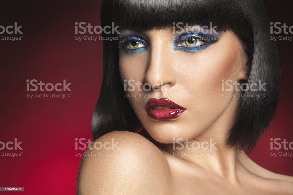 Hot brunette with professional make up royalty-free stock photo
