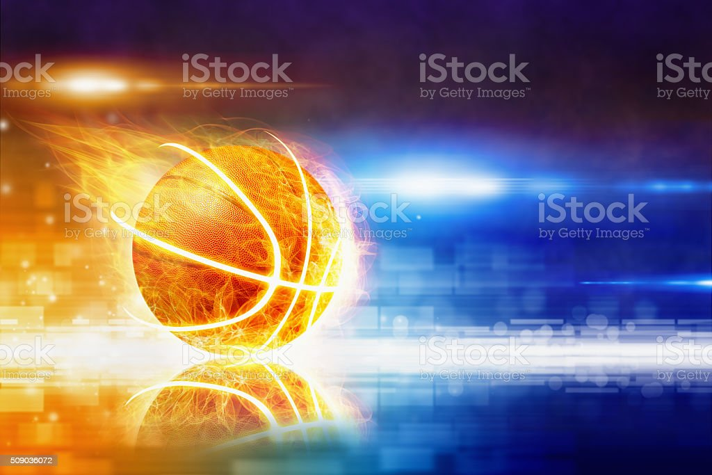 Abstract sports background - burning basketball with reflection,...