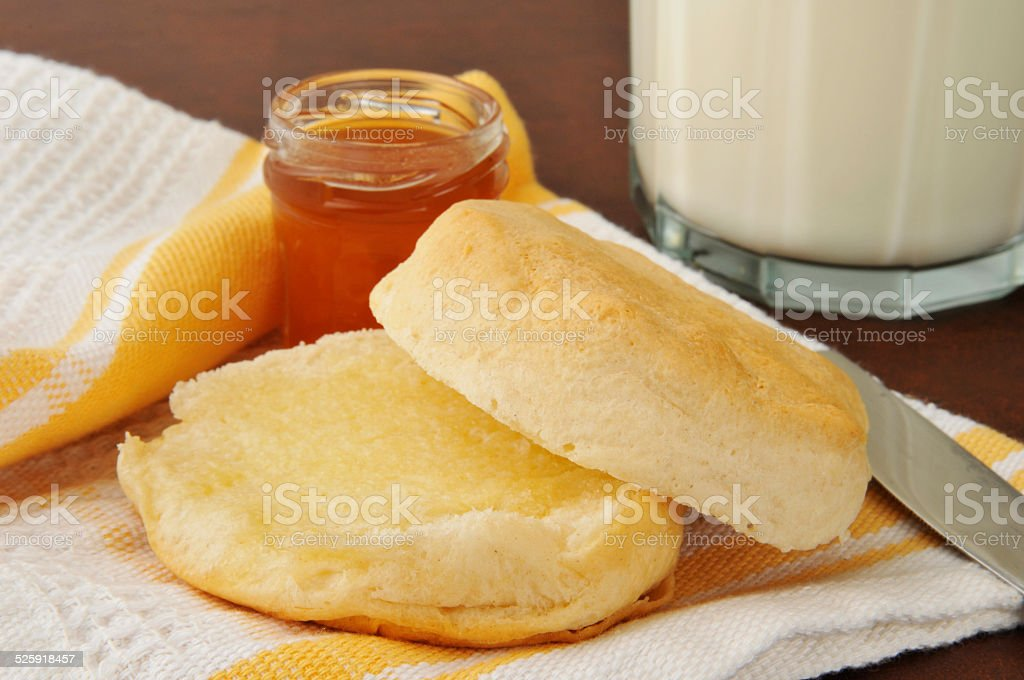 Hot buttered biscuit stock photo