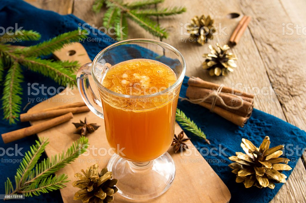Hot buttered rum cocktail stock photo